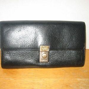 DKNY Black Grained Leather Bi-Fold Wallet